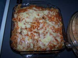 Mexican lasagne and tomato flavored rice
